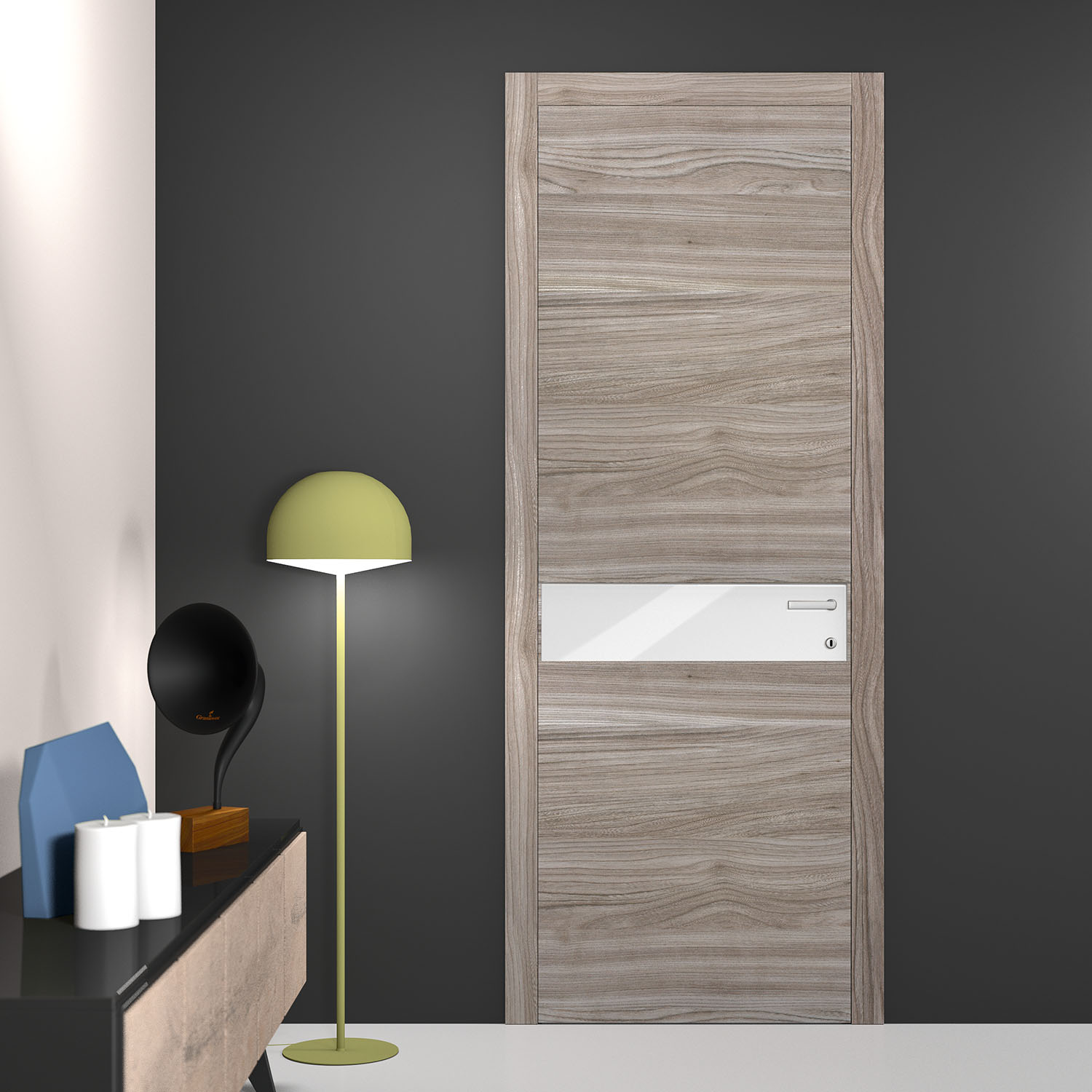 Door Tineo Tl02 Hinged Dove Grey Elm With White Lacquer